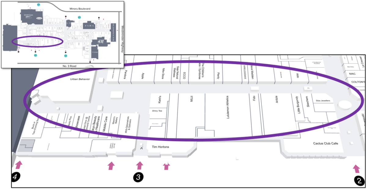 Lower Left Tour Zone on Mall Map of CF Richmond Centre.