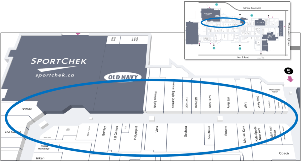 Upper Left Tour Zone on Mall Map of CF Richmond Centre