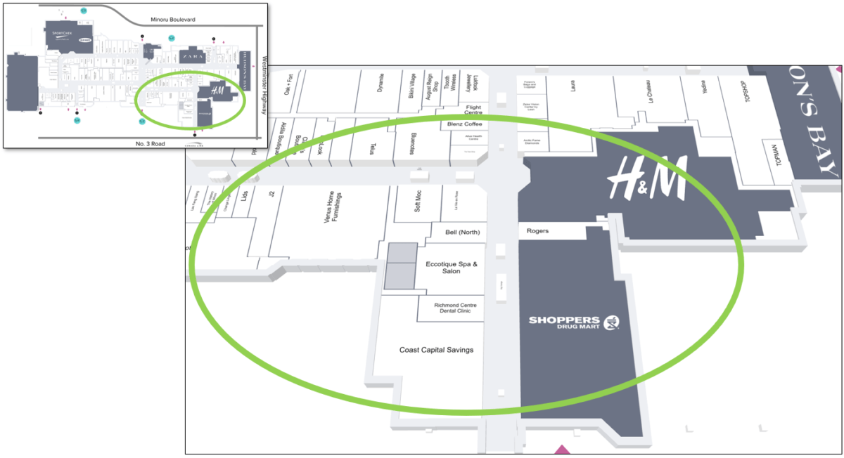 Lower Right Tour Zone on Mall Map of CF Richmond Centre