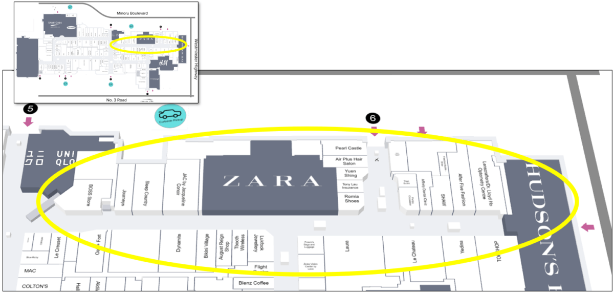 Upper Right Tour Zone on Mall Map of CF Richmond Centre