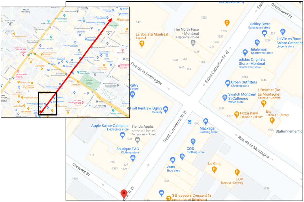 Saint-Catherine Street Tour Zone 1 Map