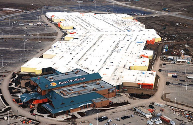 Aerial photo of CrossIron Mills just north of Calgary, Alberta