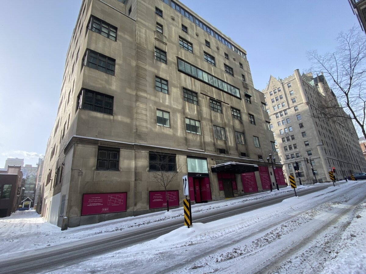 Old Holt Renfrew location from Rue De La Montagne in Montreal