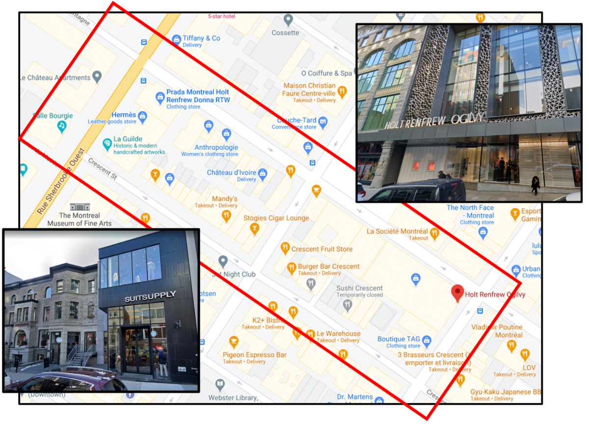 Map of the Montreal Luxury Zone between Rue Sherbrooke Ouest and Sainte-Catherine Street.