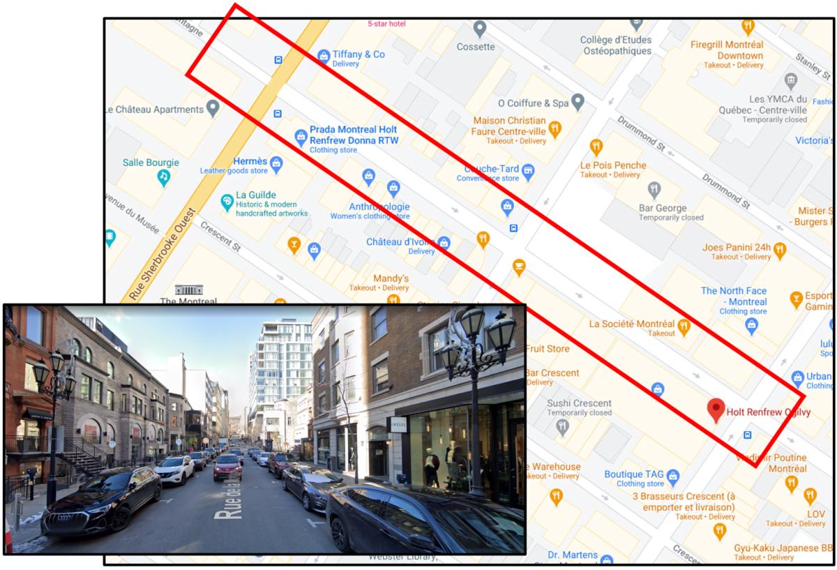 Map of the Montreal Luxury Zone on Rue de la Montagne