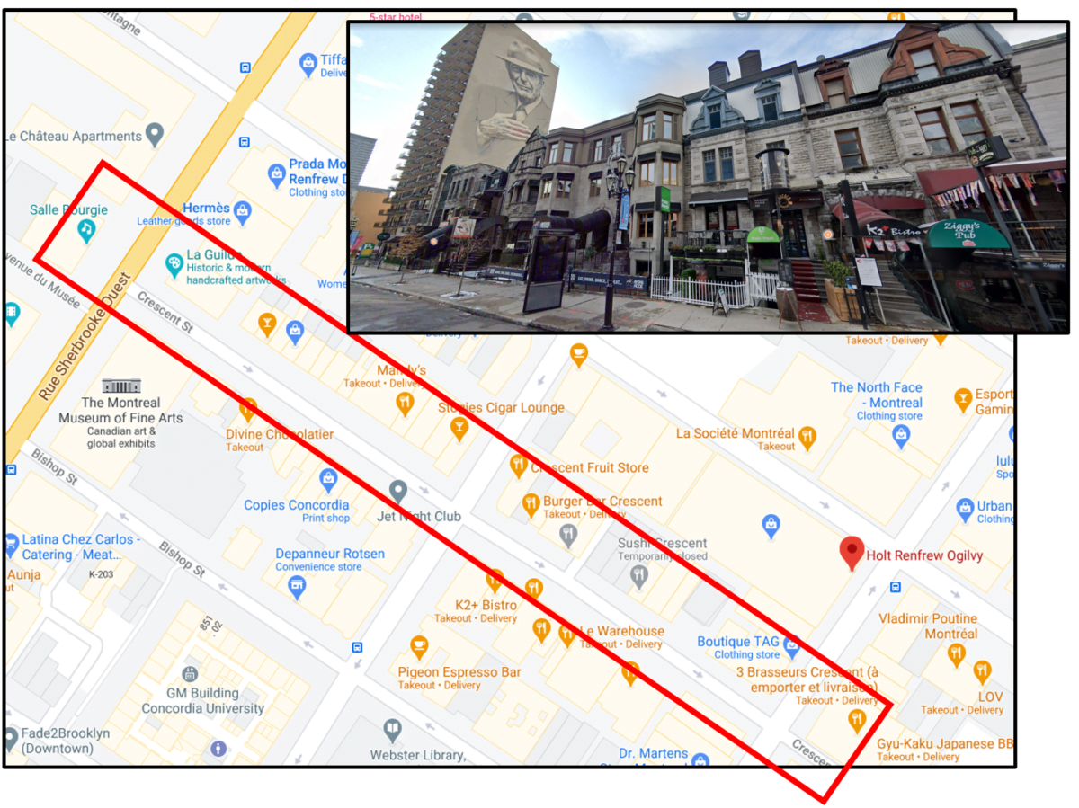 Map of the Montreal Luxury Zone on Crescent Street