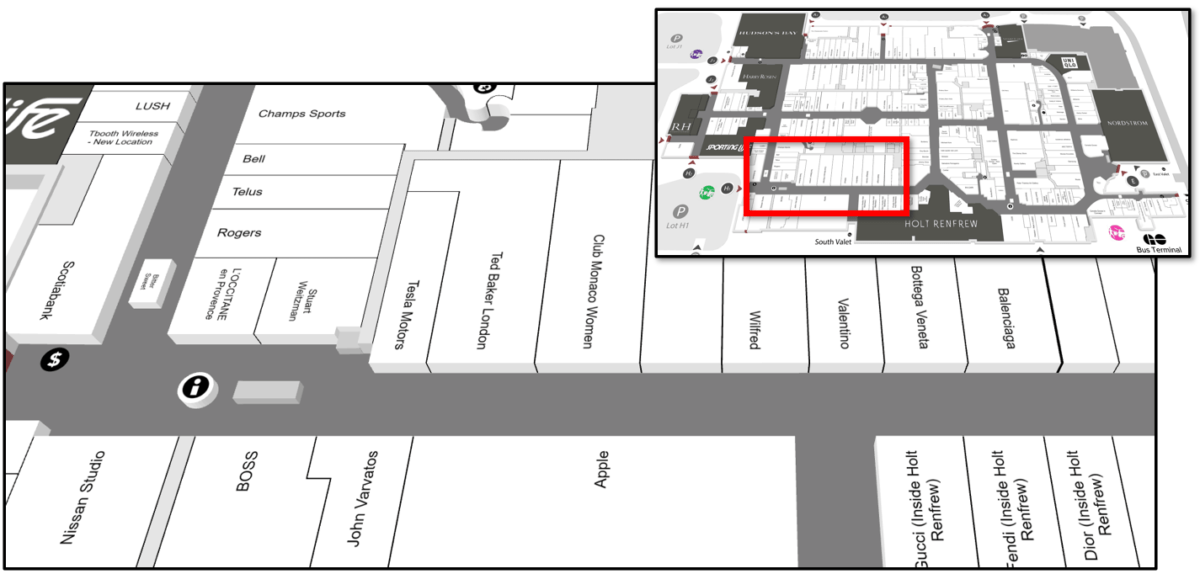 Map of 2012 Expansion Wing at Yorkdale