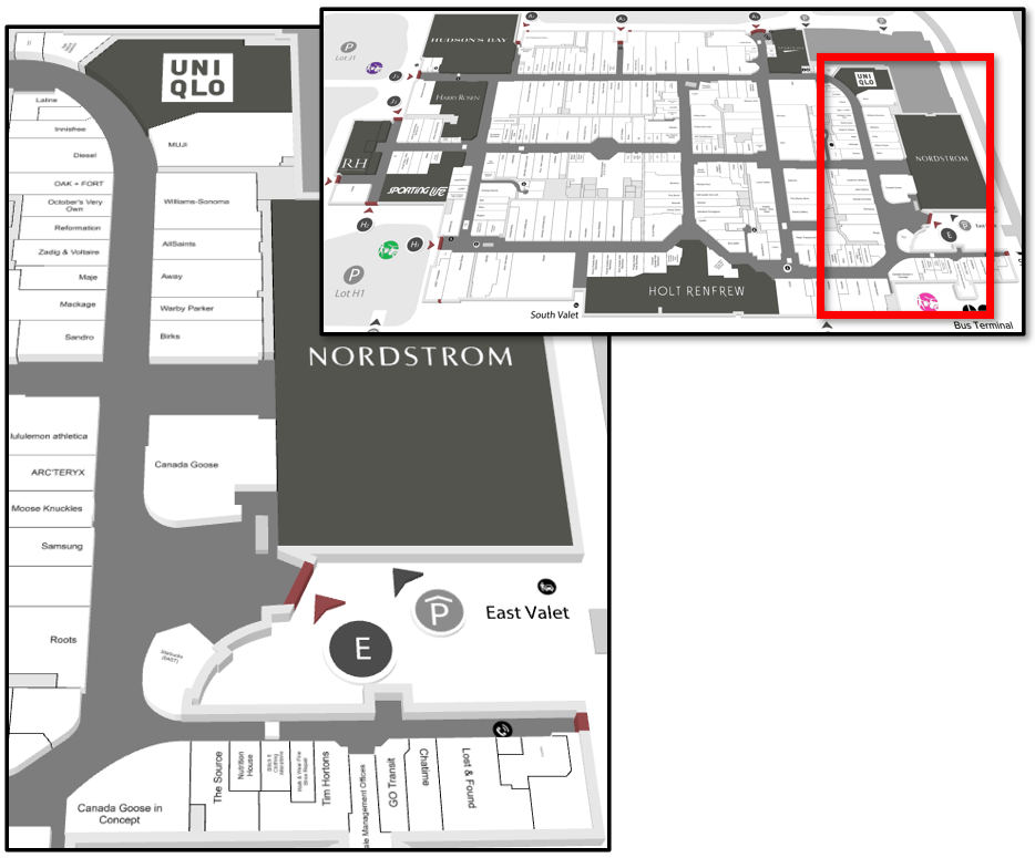 Map of 2016 Nordstrom Expansion at Yorkdale
