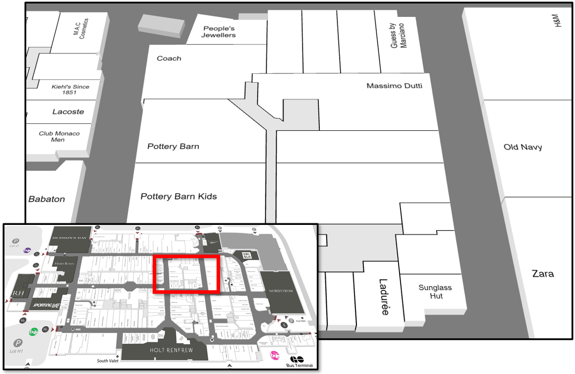 Map of Middle/Core Zone at Yorkdale