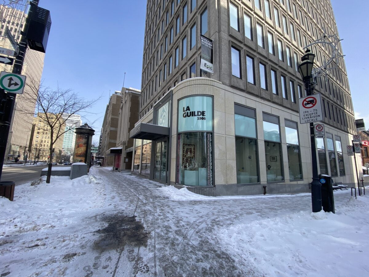 Old Holt Renfrew location from Crescent in Montreal