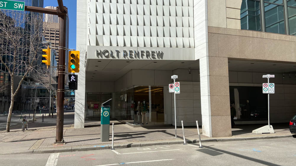 "Holt Renfrew entrance at ""The Core"" in Calgary"