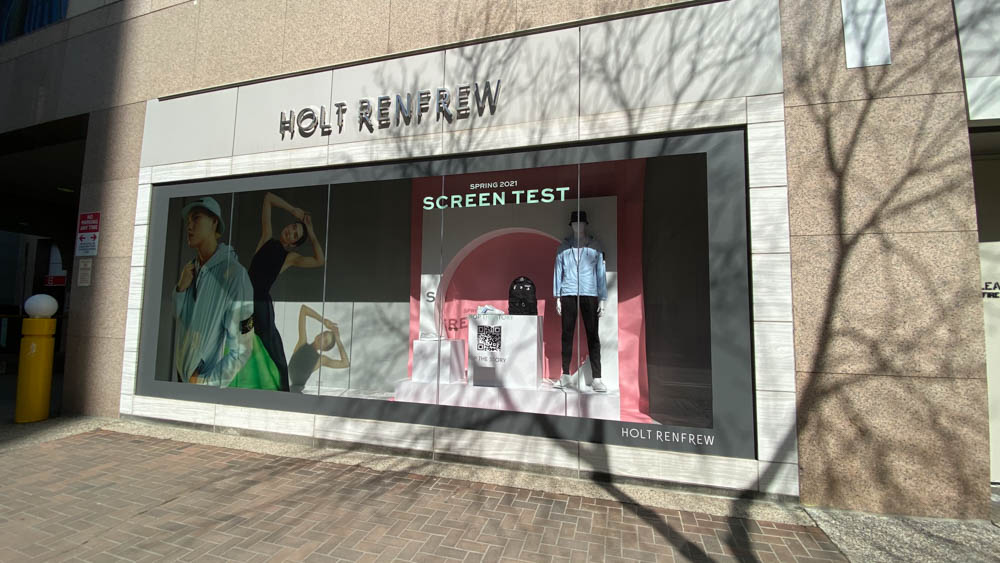 "Holt Renfrew exterior windows at ""The Core"" in Calgary"