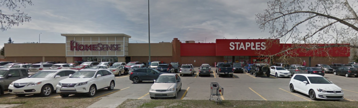 Old HomeSense and Staples location at CF Market Mall prior to redevelopment into Saks OFF 5fth and Landmark Cinemas