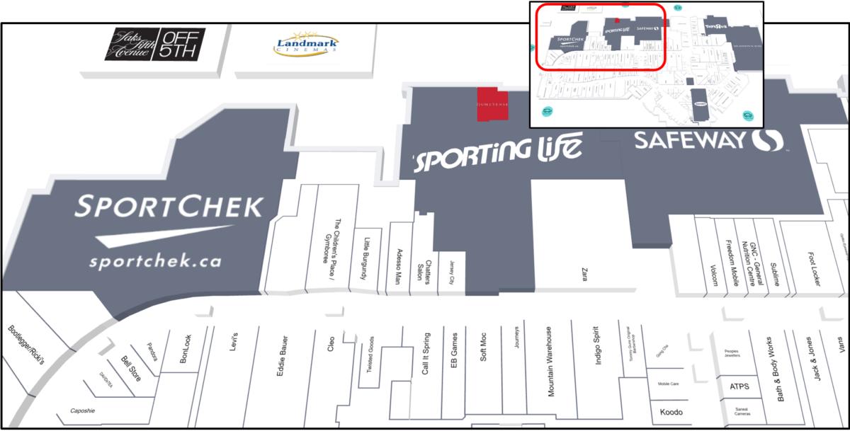 Upper Left (South West Corner) Map of CF Market Mall