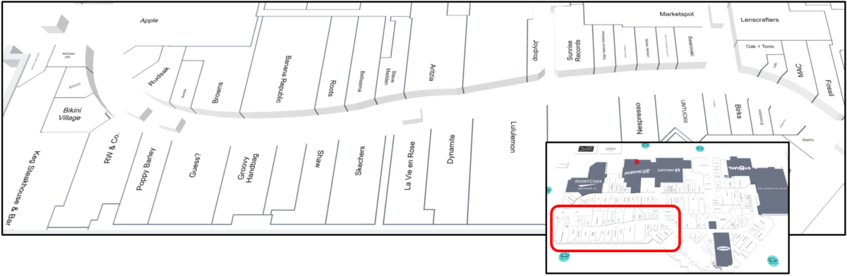 Lower Left (South East Corner) Map of CF Market Mall