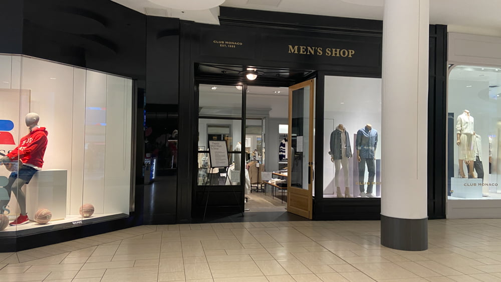 Club Monaco Men's on the Lower Level at CF Chinook Centre
