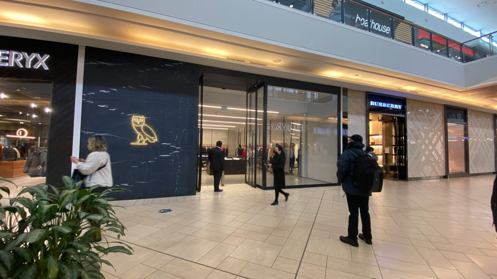 October's Very Own (OVO) and Burberry on lower level in CF Chinook Centre