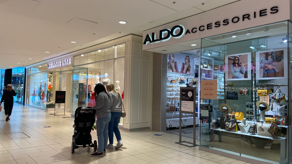 Melanie Lyne and Aldo Accessories on CF Chinook Centre's lower level