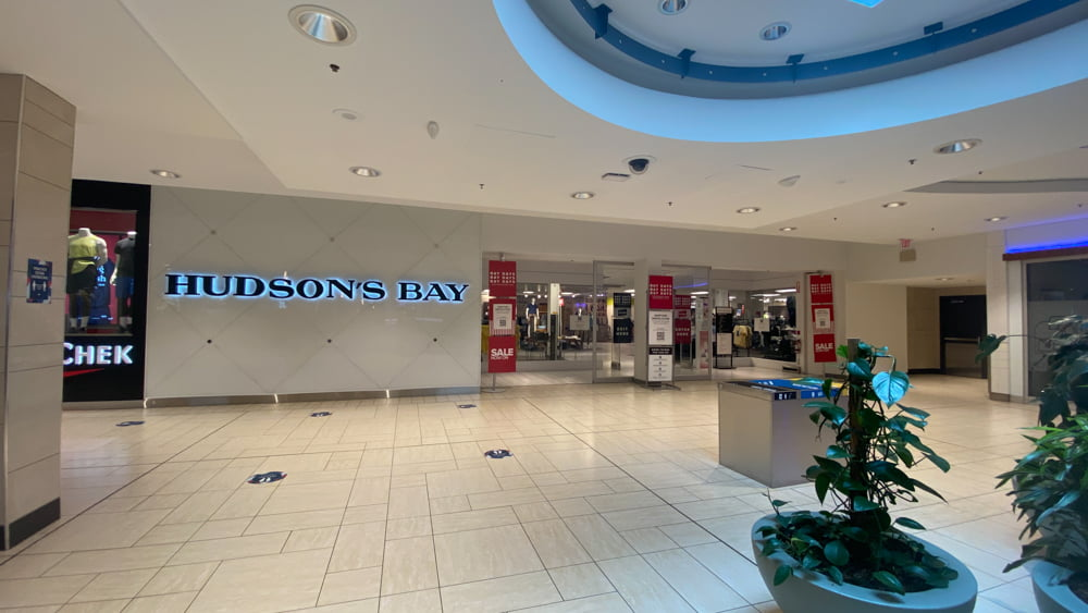 Hudson's Bay entrance on upper level in CF Chinook Centre