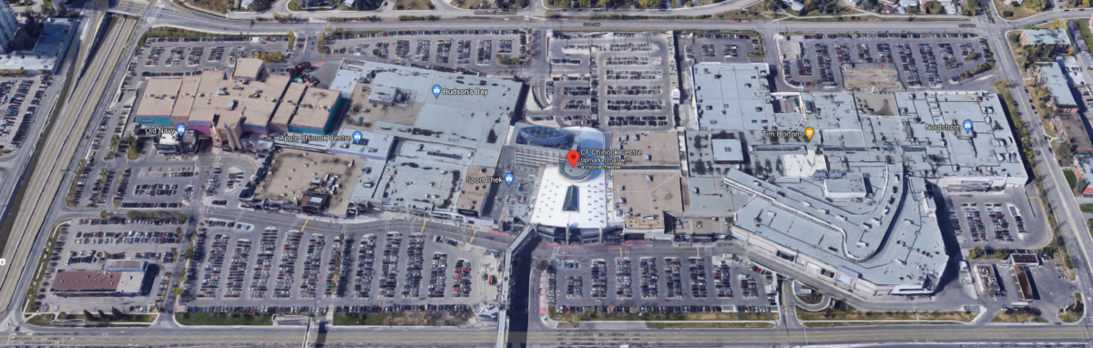 "Google Satellite Map of ""CF Chinook Centre"" in Calgary"