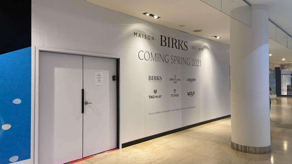 "Birks ""Coming Soon"" at ""The Core"" in Calgary"