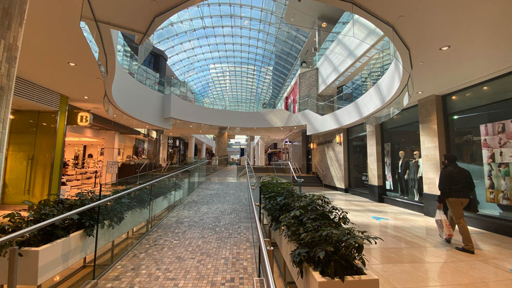 "Corridor between retailers open up to level 3 at ""The Core"" in Calgary"