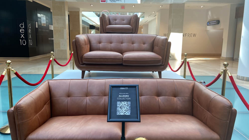 "Couch display outside of DEX 10 at ""The Core"" in Calgary"
