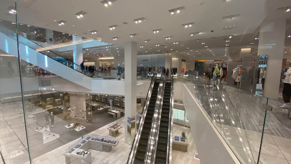 "Holt Renfrew escalators (ascending from 2nd Level to 3rd Level) at ""The Core"" in Calgary"