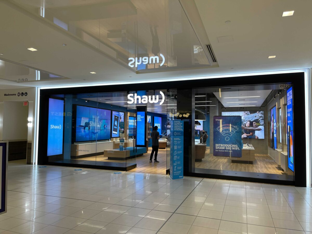 Shaw Communications retail store at Park Royal in West Vancouver in May 2021