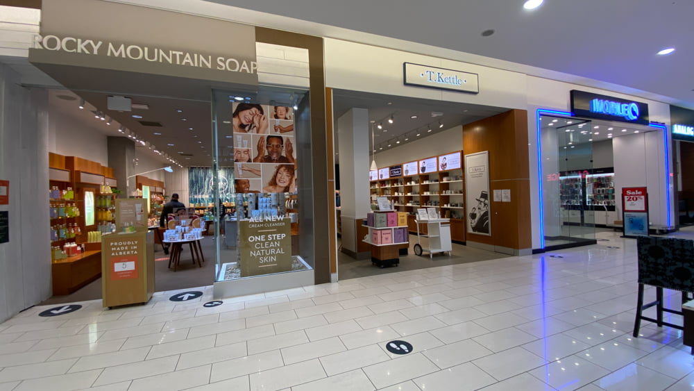 Rocky Mountain Soap and T.Kettle at SouthCentre Mall in Calgary