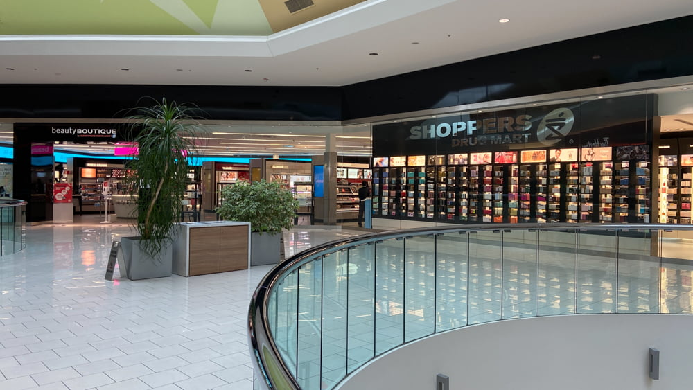 Upper level of Shoppers at SouthCentre Mall in Calgary