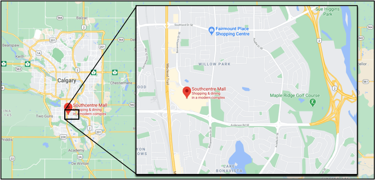 "Google Map of Calgary with ""SouthCentre Mall"" circled"