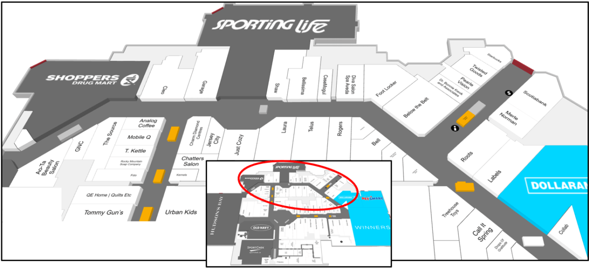 Lower Level, North side of SouthCentre Mall Tour Zone