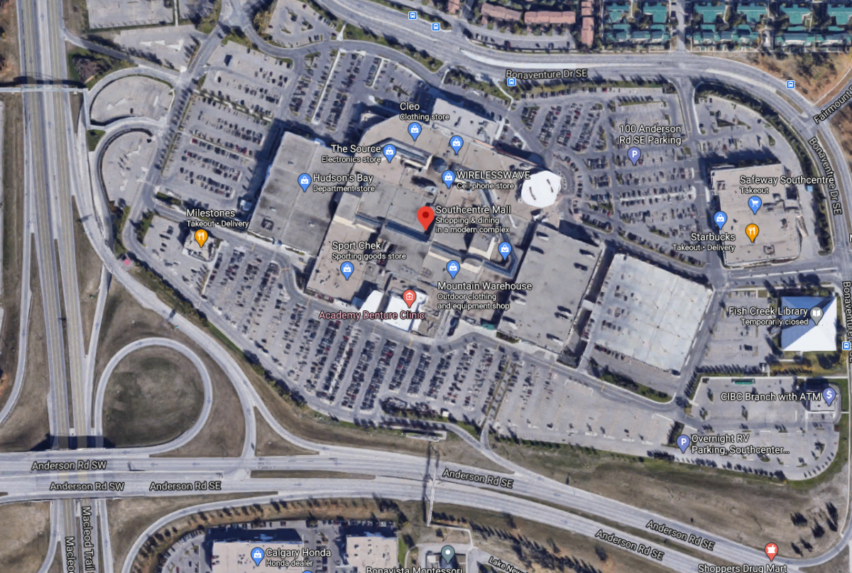 "Google Satellite Map of ""SouthCentre Mall"" in Calgary"