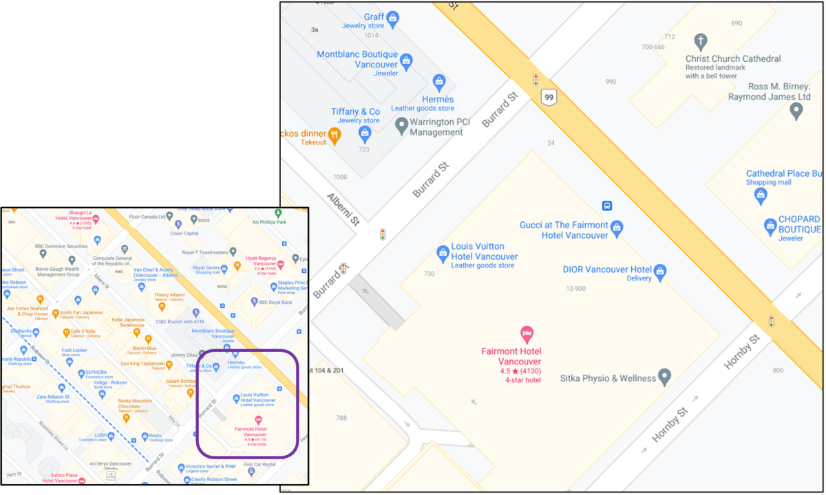 Fairmont Hotel Vancouver and surrounding area in Vancouver (near Alberni)