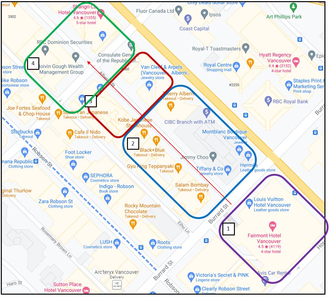 Retail Profile 'Tour Zones' for Alberni Street