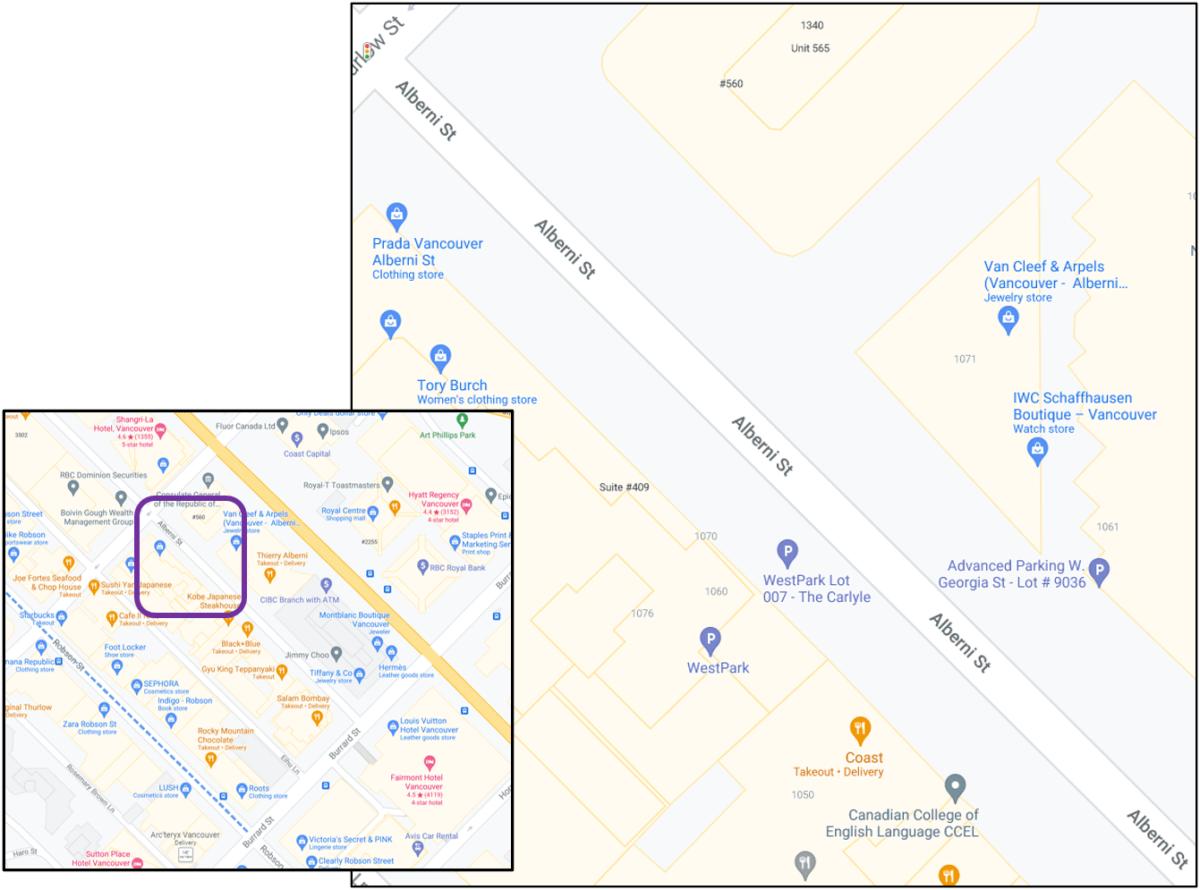 Western end of 1000 block of Alberni Street in Vancouver