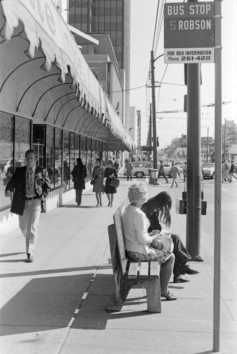 Historical Photo a bus stop at Burrard & Robson in 1974