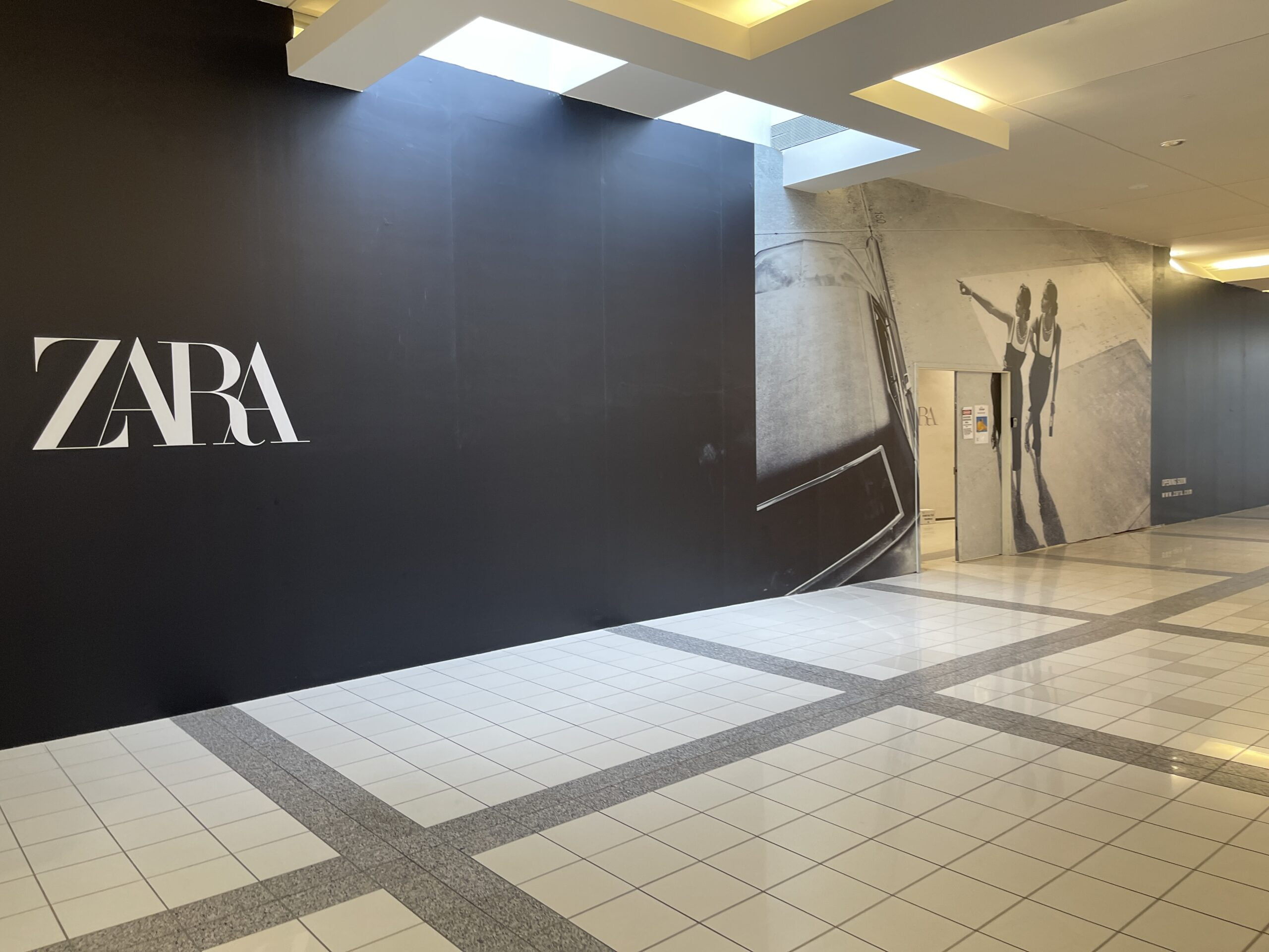 Zara Construction Signage (July 15, 2021) prior to reopening at Metropolis at Metrotown