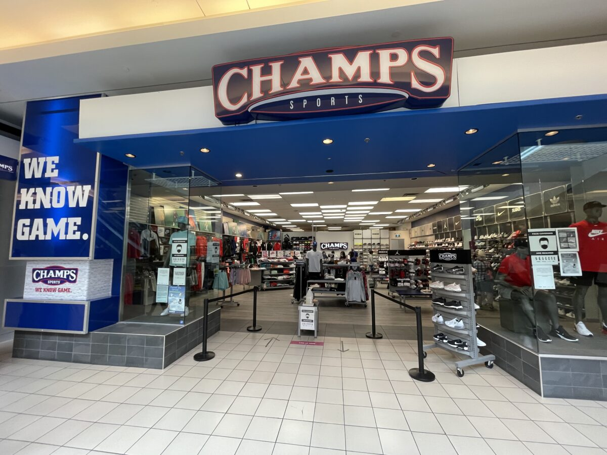 Champs Sport on ground/lower level at Metropolis at Metrotown (July 2021)