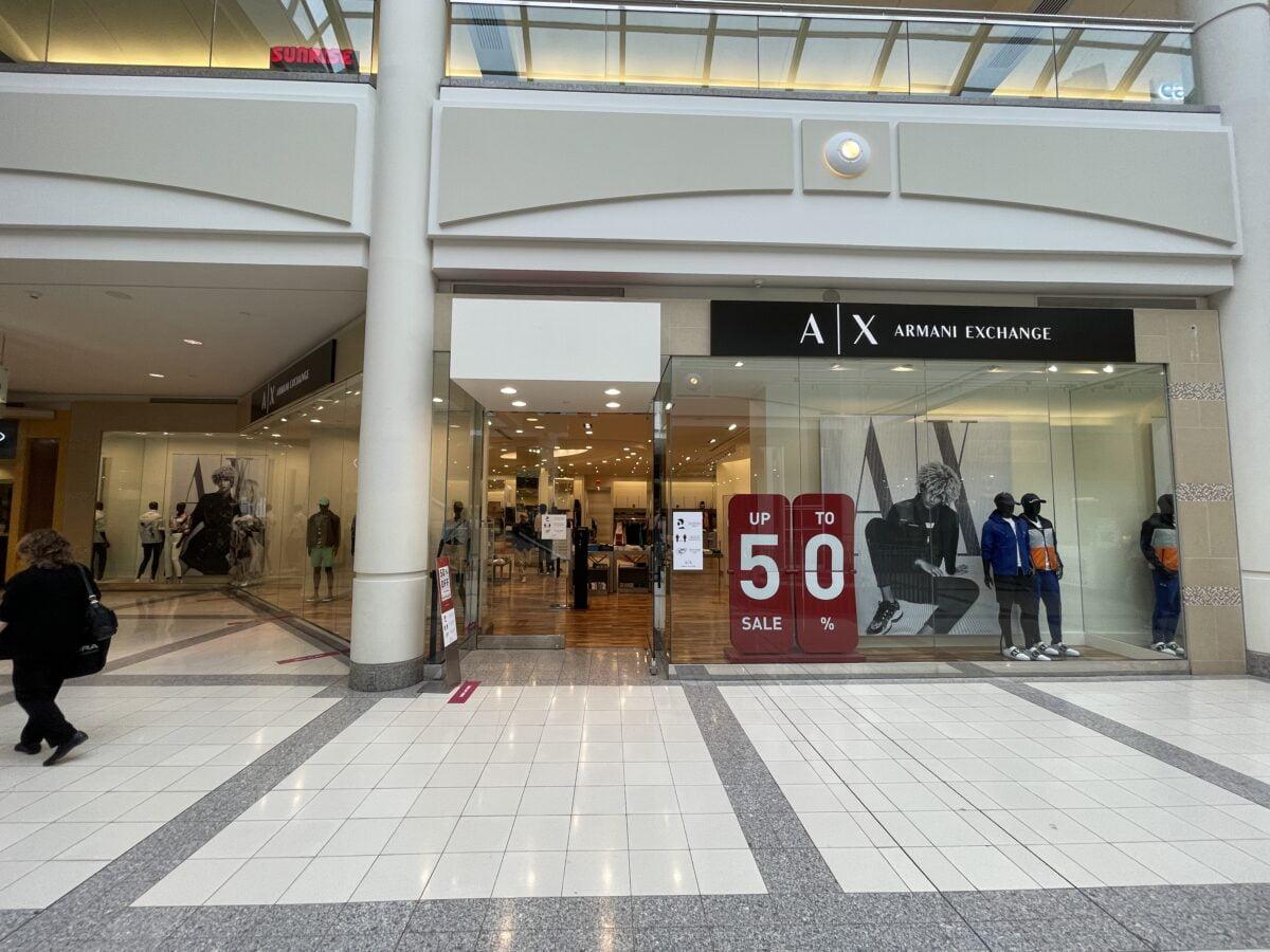 Armani Exchange on lower level at Metropolis at Metrotown (July 2021)