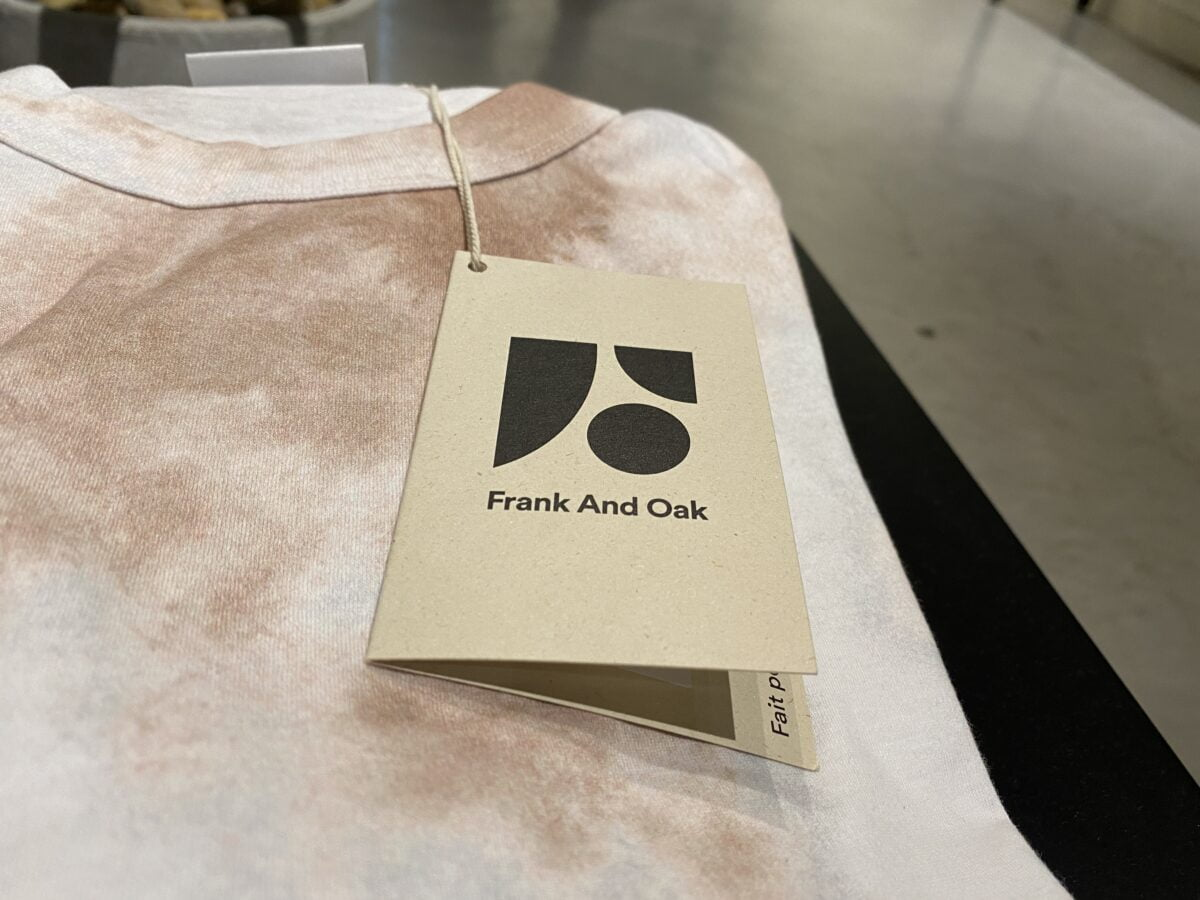 Frank and Oak product tag