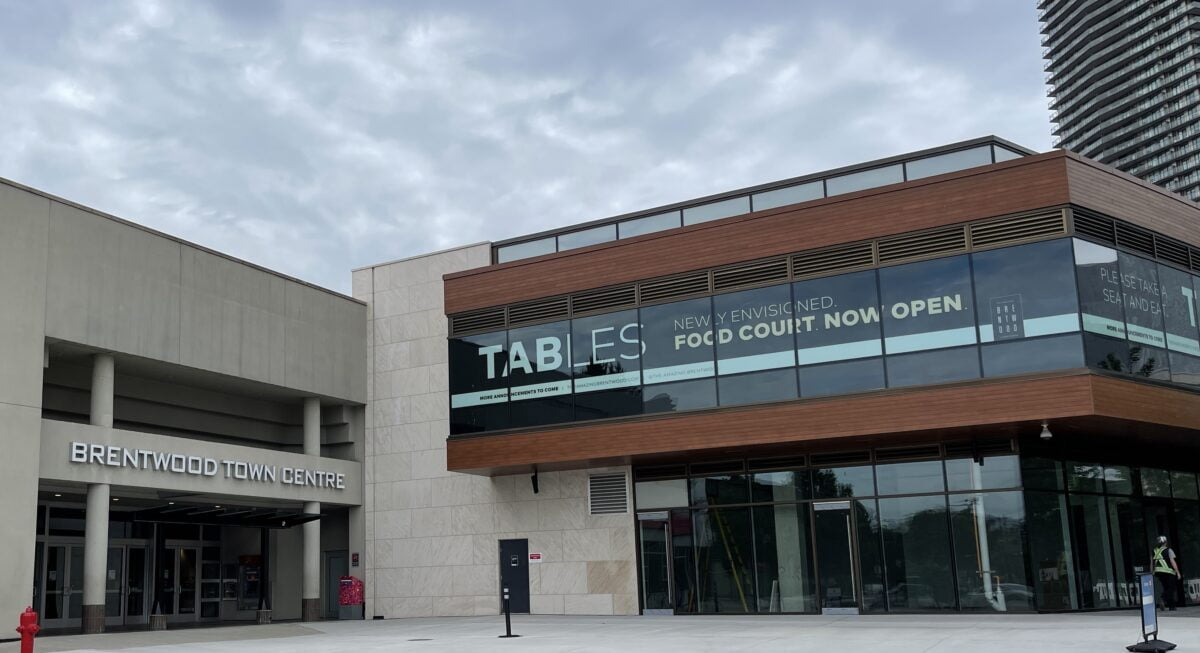 """Exterior of new """"Tables"""" addition to the existing Interior Centre. """"Tables"""" is located on the second floor (in wood-grain accents shown above) at The Amazing Brentwood"""