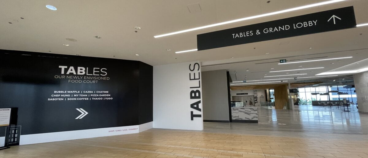 Tables entrance from pre-existing Interior Centre