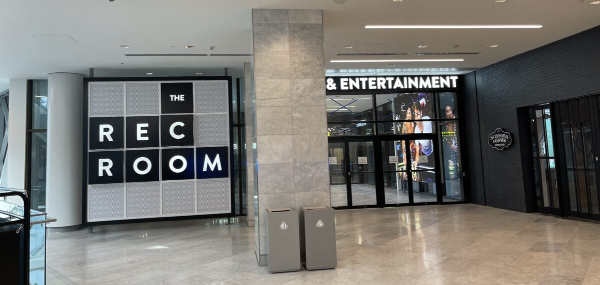 """The Rec Room entrance on 2nd level from """"The Grand Lobby"""" at The Amazing Brentwood."""