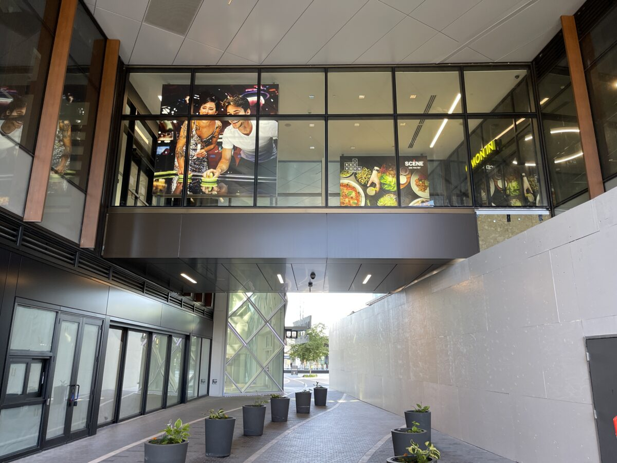 The Rec Room entrance on 2nd level from Town Center Plaza level looking upwards at The Amazing Brentwood