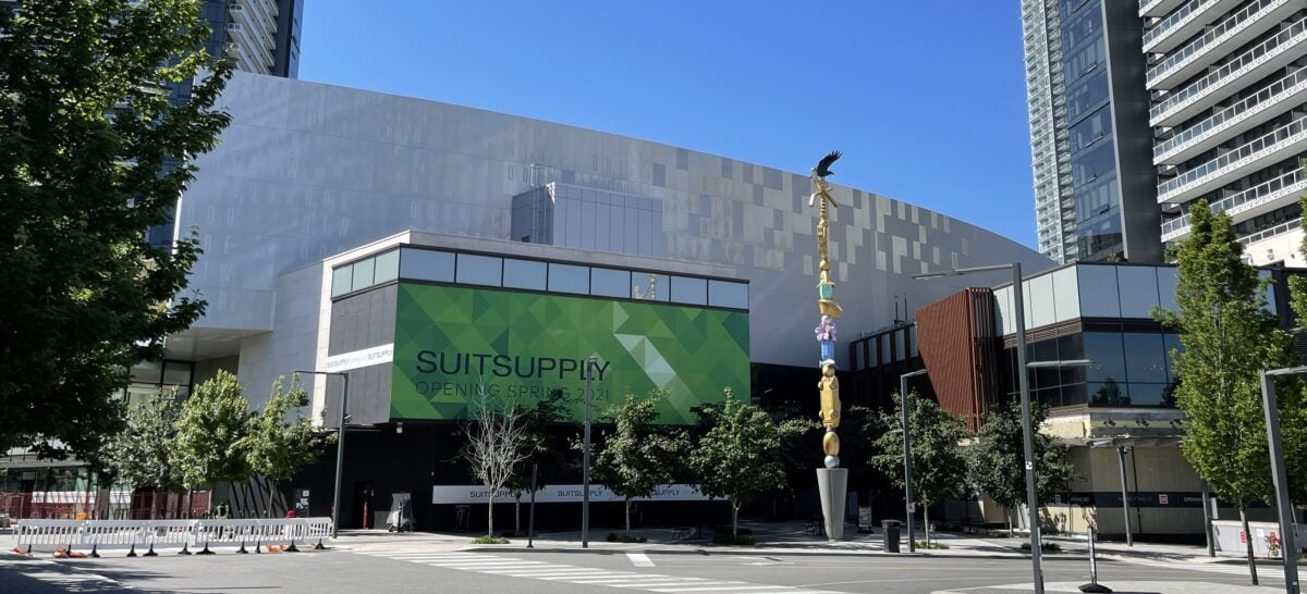 """Future location of Suit Supply and """"Charm Bracelet"""" (Douglas Coupland) from Brentwood Boulevard"""