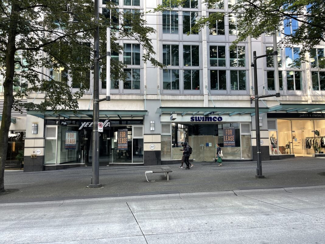 Former Yedina and former Swimco locations currently 'for lease' on Granville Street (July 2021)