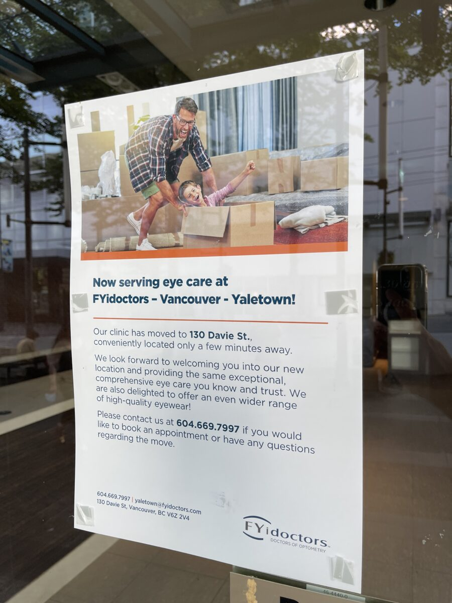 FYidoctor relocation notice at their former Granville Street location (July 2021)