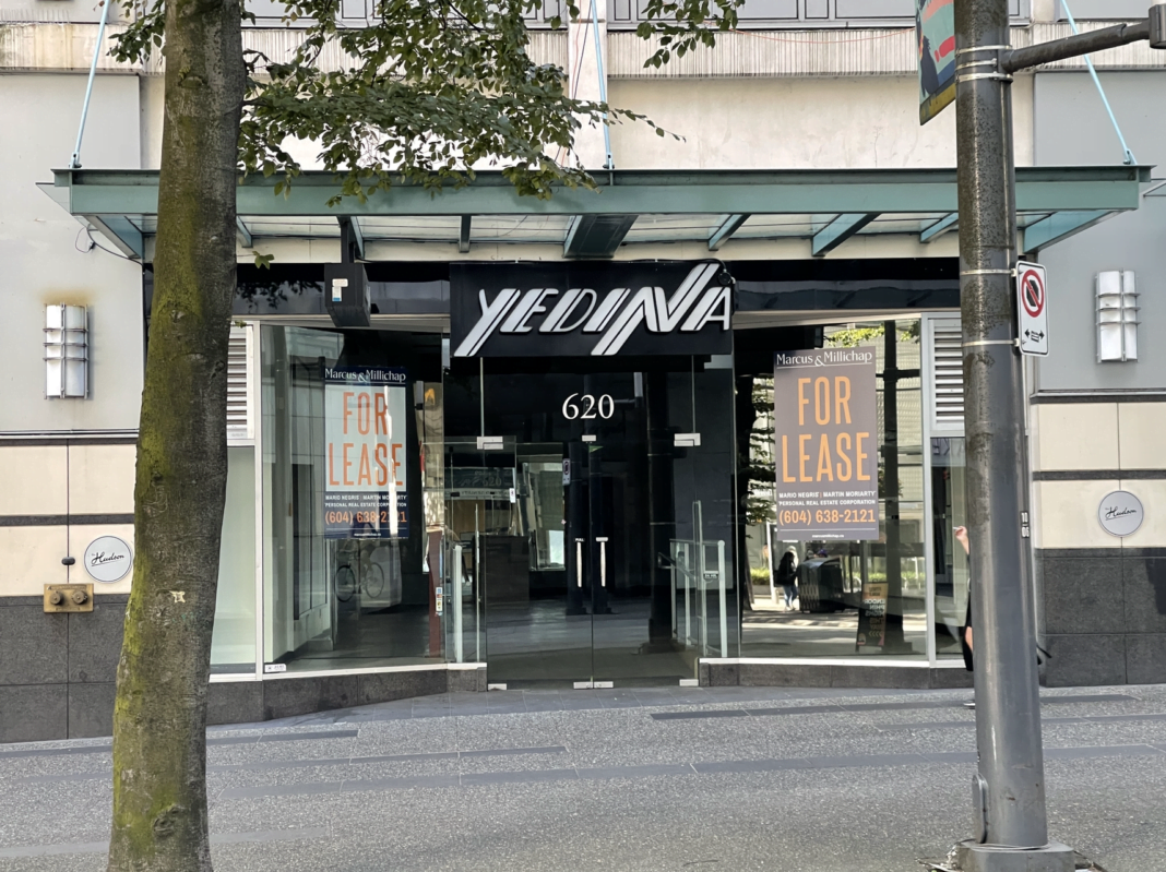 Former Yedina boutique on Granville Street in downtown Vancouver (July 2021)